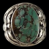 Navajo Sterling and Turquoise Men's Ring by Arnold Maloney  Size 10 1/2