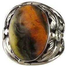 Navajo Sterling and Bumble Bee Jasper Men's Ring by Arnold Maloney