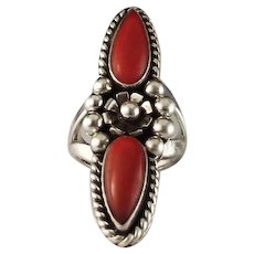 Long Double Coral and Sterling Ring