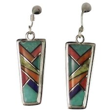 Multi Stone Inlay Earrings by Melissa Yazzie
