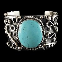 Vintage 1970's Castle Dome Turquoise and Sterling Bracelet