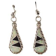Native American Onyx and Opalite Earrings