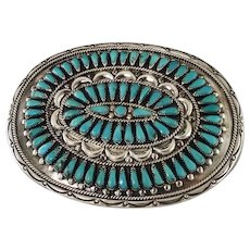 Navajo Sterling and Turquoise Belt Buckle by Frances Begay