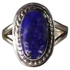 Small Oval Lapis and Sterling Ring