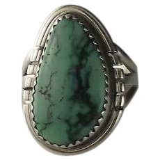 Navajo Turquoise Ring with Wispy Black Matrices