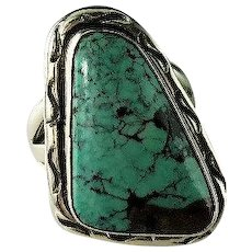 Navajo Sterling and Spider Web Turquoise Ring