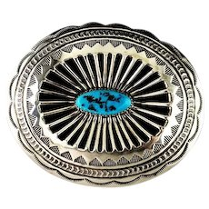 Navajo Sterling and Kingman Nugget Belt Buckle by Carson Blackgoat