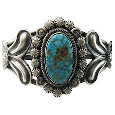 Sterling and Lone Mountain Turquoise Bracelet by Navajo Artist Leon Martinez