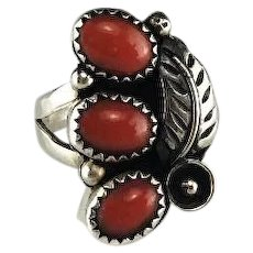 Navajo Sterling and 3 Stone Coral Ring