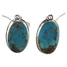 Sterling and Morenci Turquoise Earrings