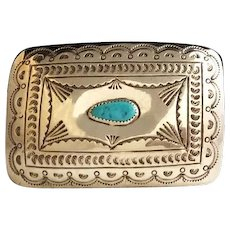 Vintage Navajo Sterling and Turquoise Belt Buckle