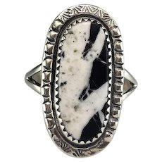 Navajo Sterling and White Buffalo Ring by Richard Kee