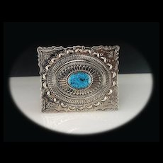 Native American Sterling and Turquoise Belt Buckle