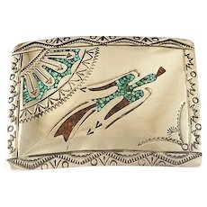 Vintage Navajo Chip Inlay Belt Buckle