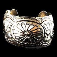 Navajo All Sterling Stamped Bracelet