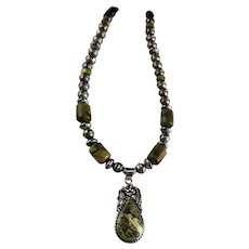 White Fox Creation: Sterling and Gaspeite Necklace