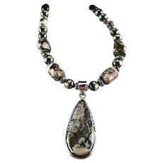 White Fox Creation: Wild Horse Magnesite and Sterling Navajo Pearl Necklace