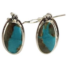 Navajo Sterling and Boulder Turquoise Earrings by Melissa Yazzie
