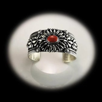 Sterling and Coral Bracelet by Renowned Navajo Artist Darryl Becenti