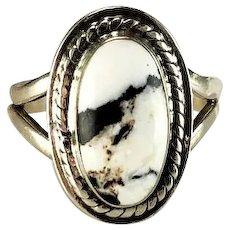 Navajo Sterling and White Buffalo Ring