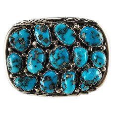 Navajo Sterling and Kingman Nugget Belt Buckle
