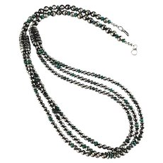 White Fox Creation: Triple Strand Turquoise and Navajo Pearl Necklace