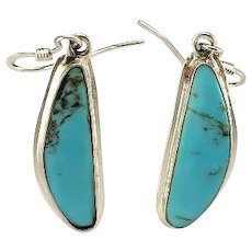 Sterling and Sky Blue Turquoise Dangle Earrings