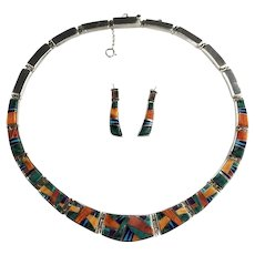 Outstanding Touch of Santa Fe Multi Stone Necklace Earring Set