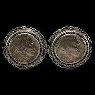 Indian Head Nickels Set in Sterling Earrings