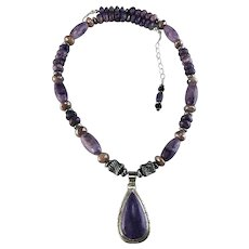 White Fox Creation: Sterling and Charoite Necklace