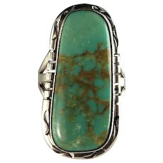 Navajo Sterling and Leadville Turquoise Ring