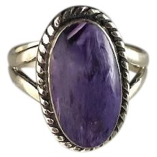 Navajo Sterling and Charoite Ring