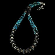Stunning Turquoise/ Onyx and Genuine Opal Necklace