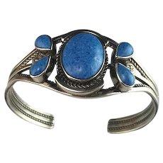 Navajo Sterling and Denim Lapis Bracelet