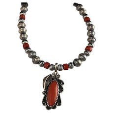 White Fox Creation: Sterling and Coral Necklace