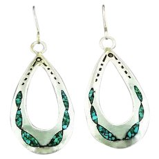 Navajo Sterling and Turquoise Chip Inlay Earrings