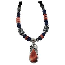 White Fox Creation: Lapis and Spiny Oyster Necklace
