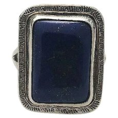 Square Cut Lapis and Sterling Ring By Navajo Richard Kee