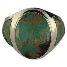 Sleek Native American Sterling and Royston Turquoise Mens Ring