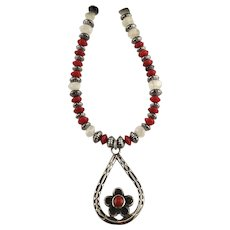 White Fox Creation: Sterling, Moonstone and Coral Necklace