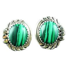 Navajo Malachite and Sterling Button Earring