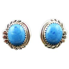 Navajo Sterling and Denim Lapis Button Earrings