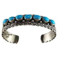 Navajo Sterling and Turquoise Bracelet by June Defarito