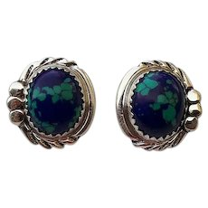 Navajo Sterling and Azurite Button Earrings