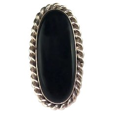 Navajo Sterling and Onyx Ring