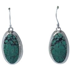 Sterling and Spider Web Turquoise Earrings by Melissa Yazzie
