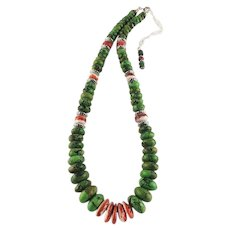 White Fox Creation: Brilliant Green Turquoise and Spiny Oyster Necklace