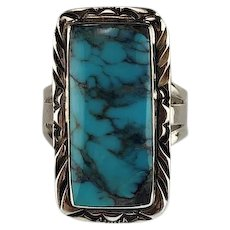 Sterling and Turquoise Ring with Smoky Black Matrices