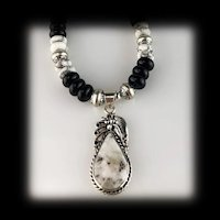 White Fox Creation: Onyx and Howlite Necklace with White Buffalo Pendant