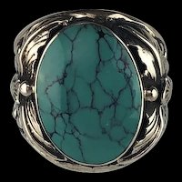 Navajo Sterling and Turquoise Men's Ring  Size 10 3/4